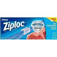 Ziploc Slider Freezer Bags with New Power Shield Technology, Quart, 34 Count