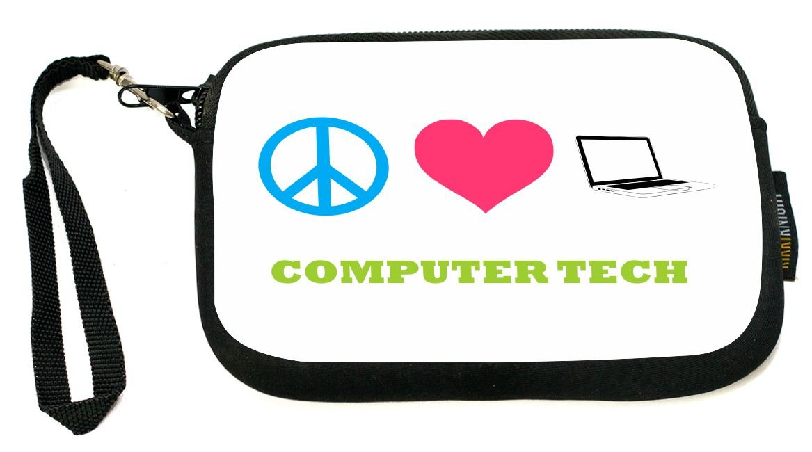 Rikki Knight UKBK Neoprene Smartphone Bag - Peace Love Computer Tech for Universal/Smartphones