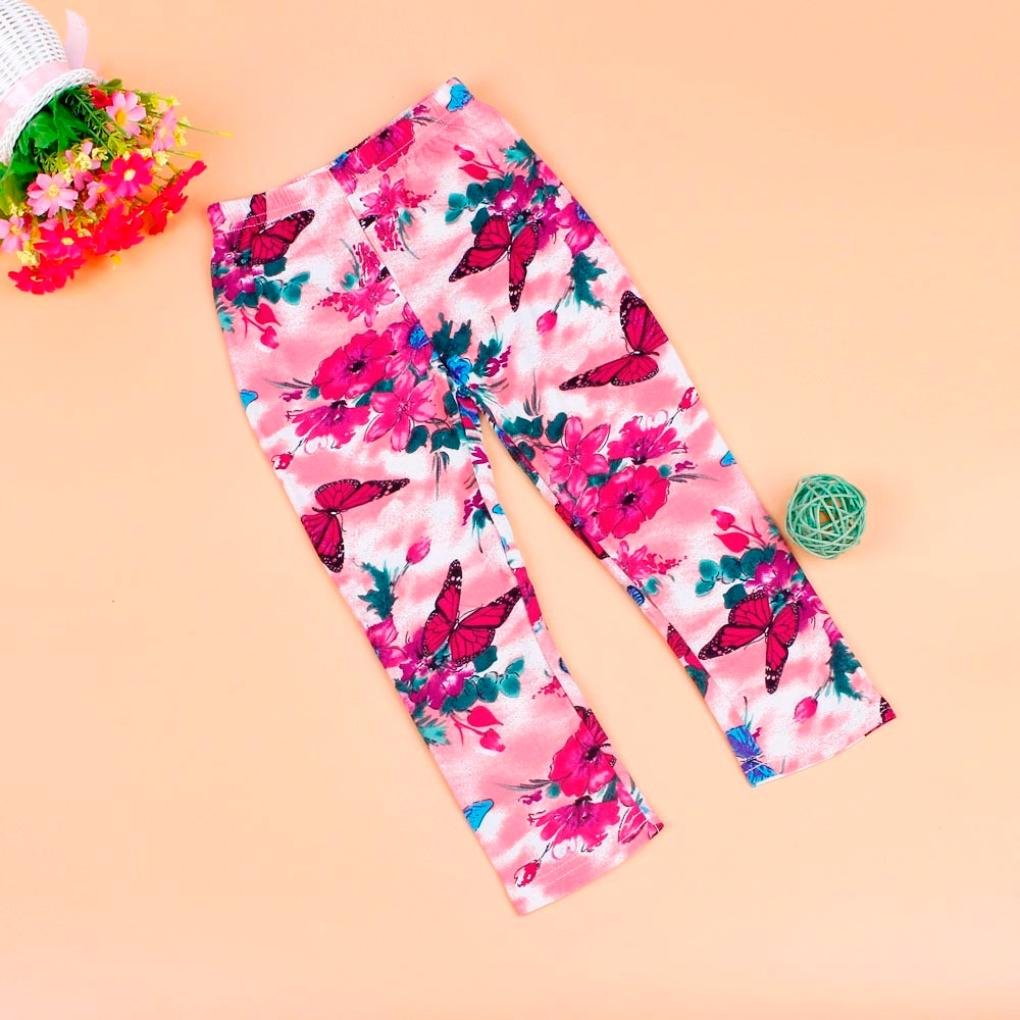 For 2-8Years Old,Clode/®Kids Leggings Girls Tight Flower Cat Butterfly Dot Ninth Length Pants Childrens Summer Trousers