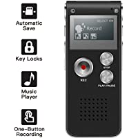 COOLEAD Dictaphon 8GB Rechargeable Digital Voice Recorder with Built-in USB, MP3 Player Stereo Music, Portable Voice Recorders for Lectures,Interview and Meetings.