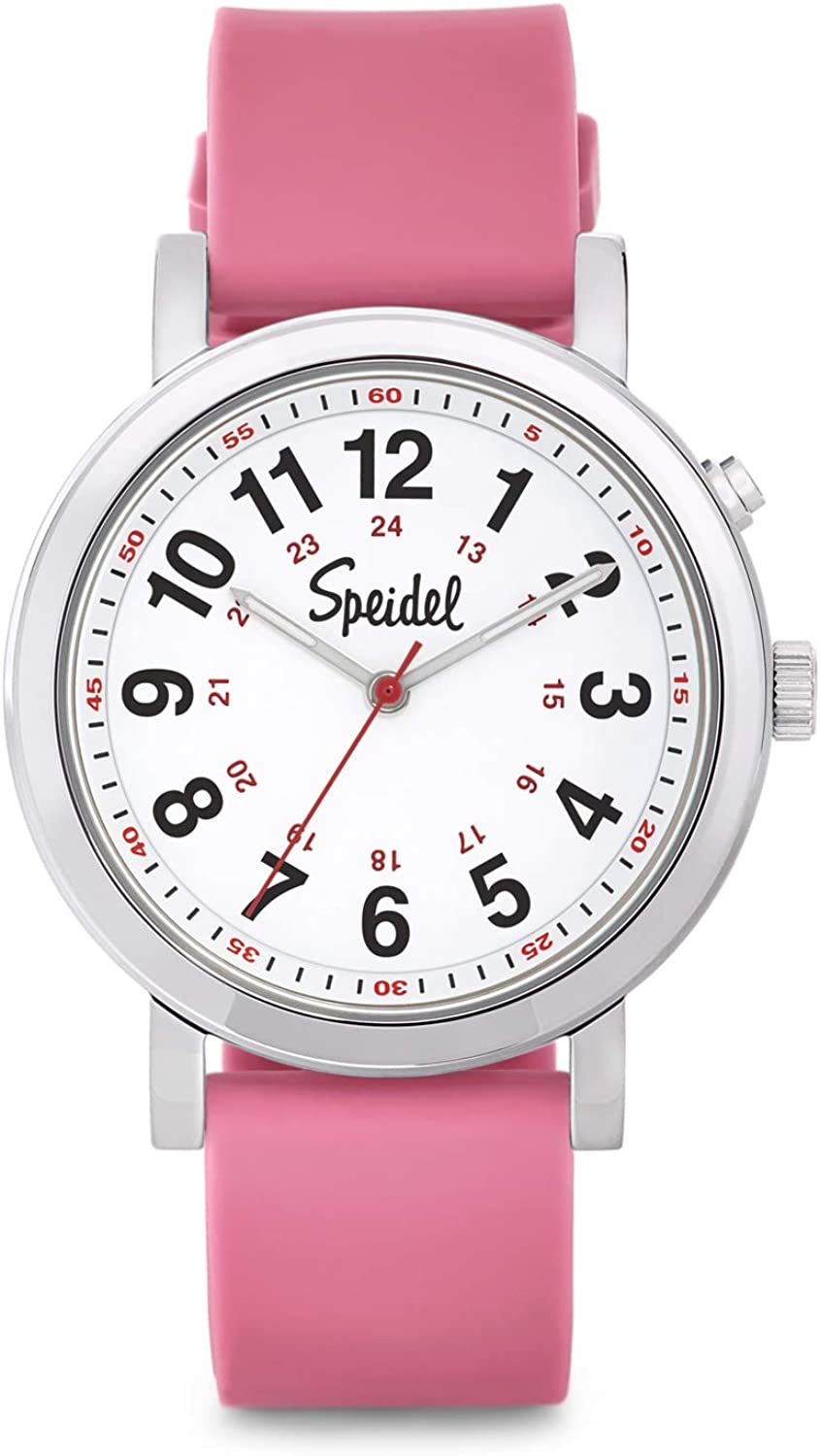 Speidel Medical Scrub Glow Watch - Silicone Band, 24 Hour Marks, Second Hand, Lighted Easy-Read Face