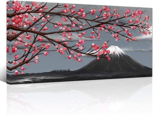 LoveHouse Red Cherry Blossom Tree Painting and Mount Fuji Canvas Wall Art Black White Landscape Picture