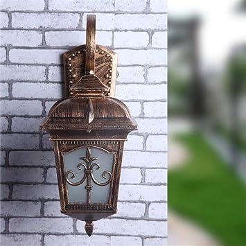 T-ZBDZ Lámpara de pared de alumbrado público europeo exterior, balcón lámpara de pared de jardín impermeable, bronce: Amazon.es: Bricolaje y herramientas