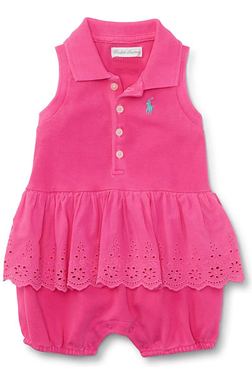Ralph Lauren Baby Girls Sleeveless Polo Shortall