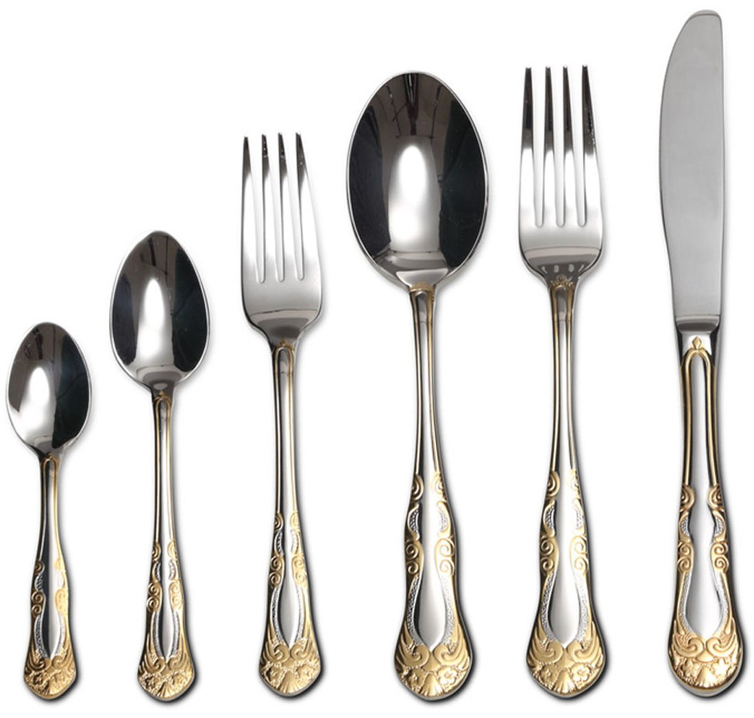 Venezia Collection ''Siena'' 75-Piece Fine Flatware Set, Silverware Cutlery Dining Service for 12, Premium 18/10 Surgical Stainless Steel, 24K Gold-Plated Hostess Serving Set