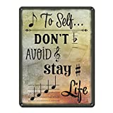 """Note to Self... ~ Music Themed Decor ~ 9"""" x 12"""" 24-gauge Steel Sign ~ Music Room and Studio Wall Decorations ~ Gifts for Musicians, Orchestra Conductors, Songwriters and Teachers (RK3038_9x12)"""