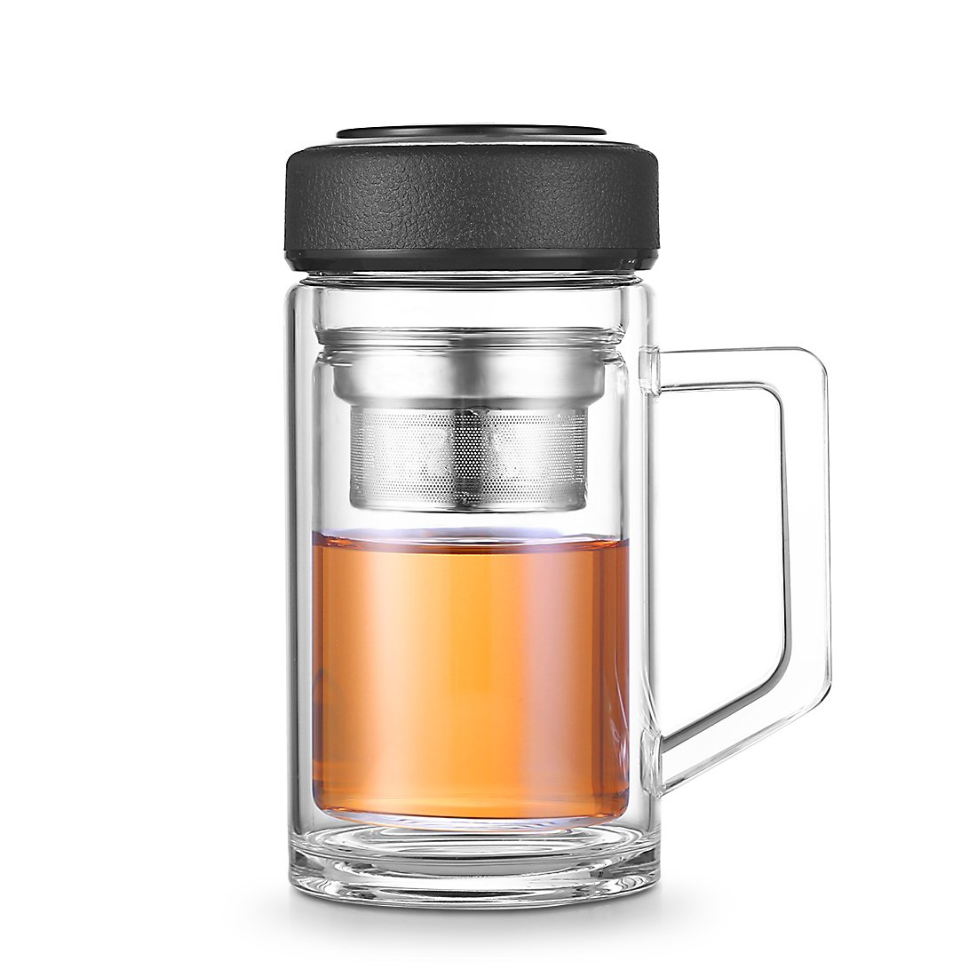 Glass Tea Mug with Infuser Handle leather Lid - Portable Tumbler With Stainless Steel Strainer for Tea and Fruit - Double Wall Glass, 12 Oz DHTUS674 (Black)