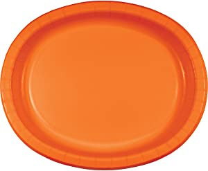 Creative Converting 8 Count Oval Paper Platters, Sunkissed Orange
