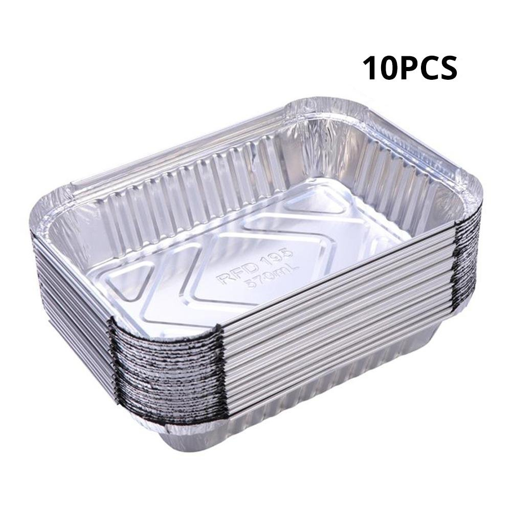 10PCS Aluminum Foil Grill Drip Pans Disposable BBQ Grease Pans,5.47x/4.33x/1.65inch