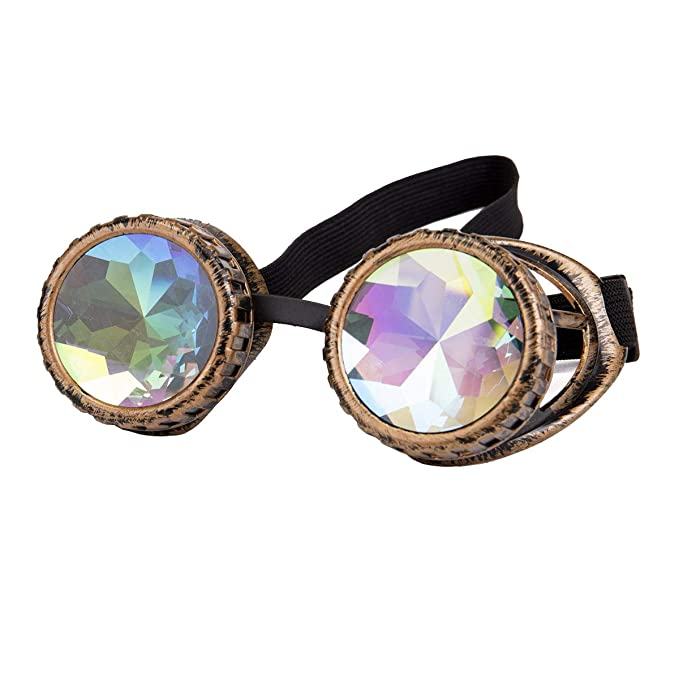 665cb611073f Kaleidoscope Rave Goggles Steampunk Glasses with Rainbow Crystal Glass Lens   Amazon.in  Clothing   Accessories