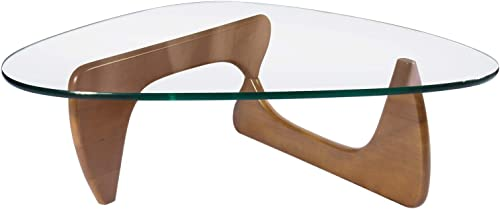 Rimdoc Triangle Glass Coffee Table,Vintage Glass and Wood End Table, Solid Wood Base and Triangle Clear Glass Top Modern End Table for Living Room,Patio Light Walnut
