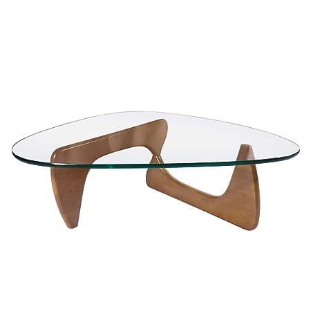 Rimdoc Mesa de café de cristal triangular, mesa de cristal vintage ...