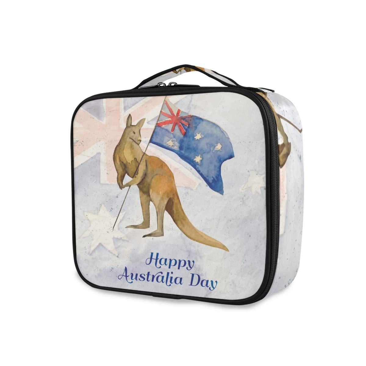 Kangaroo Australia Flag Makeup Train Case Travel Makeup Bag Cosmetic Artist Bags Organizer with Adjustable Dividers Gift for Women Girls