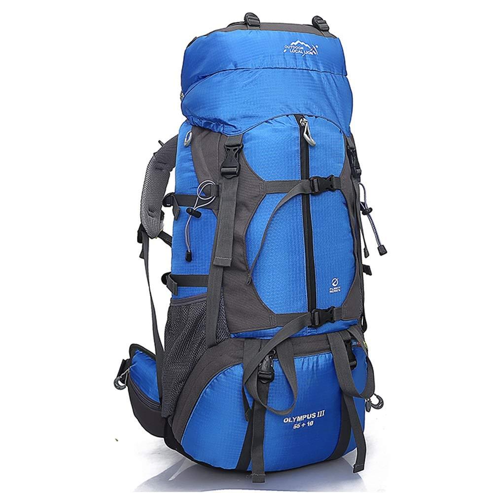 サイクリングバックパック ハイキング、サイクリング、マウンテンバイク、スキー用のパッド入りバックサポート&クッション付き調節可能ストラップ付き多機能65L大容量バックパック (Color : Blue, Size : 81*37*18cm) B07TFJSFW4 Blue 81*37*18cm