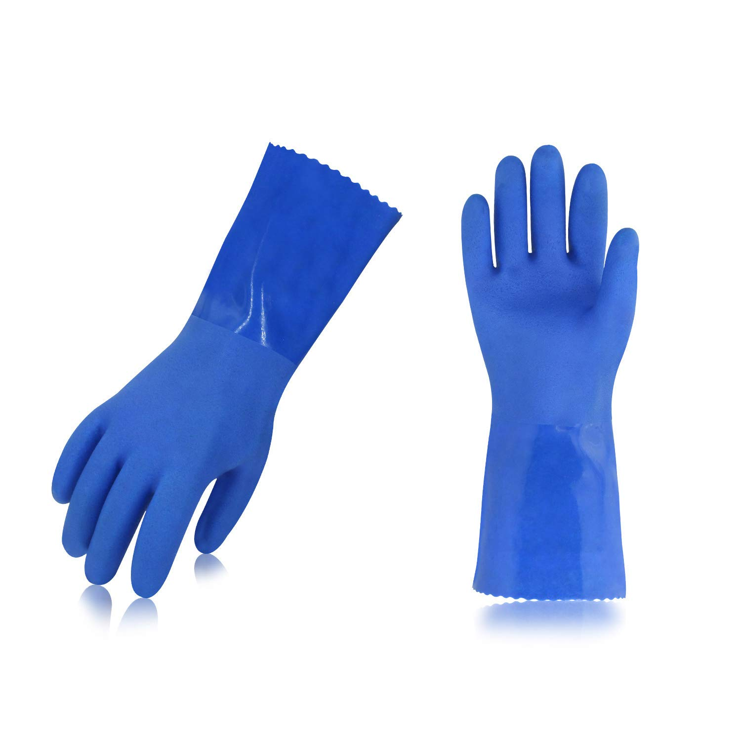 Vgo 2Pairs Heavy Duty PVC Gloves, Resist Strong Acid, Alkali and Oil (Size L,10.5in,Blue,PVC4010)