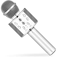 Calie Wireless Karaoke Microphone with Bluetooth Speaker for iPhone Android Smartphone, Portable Handheld Microphone for Singing Recording Interviews Home KTV Party (silver)