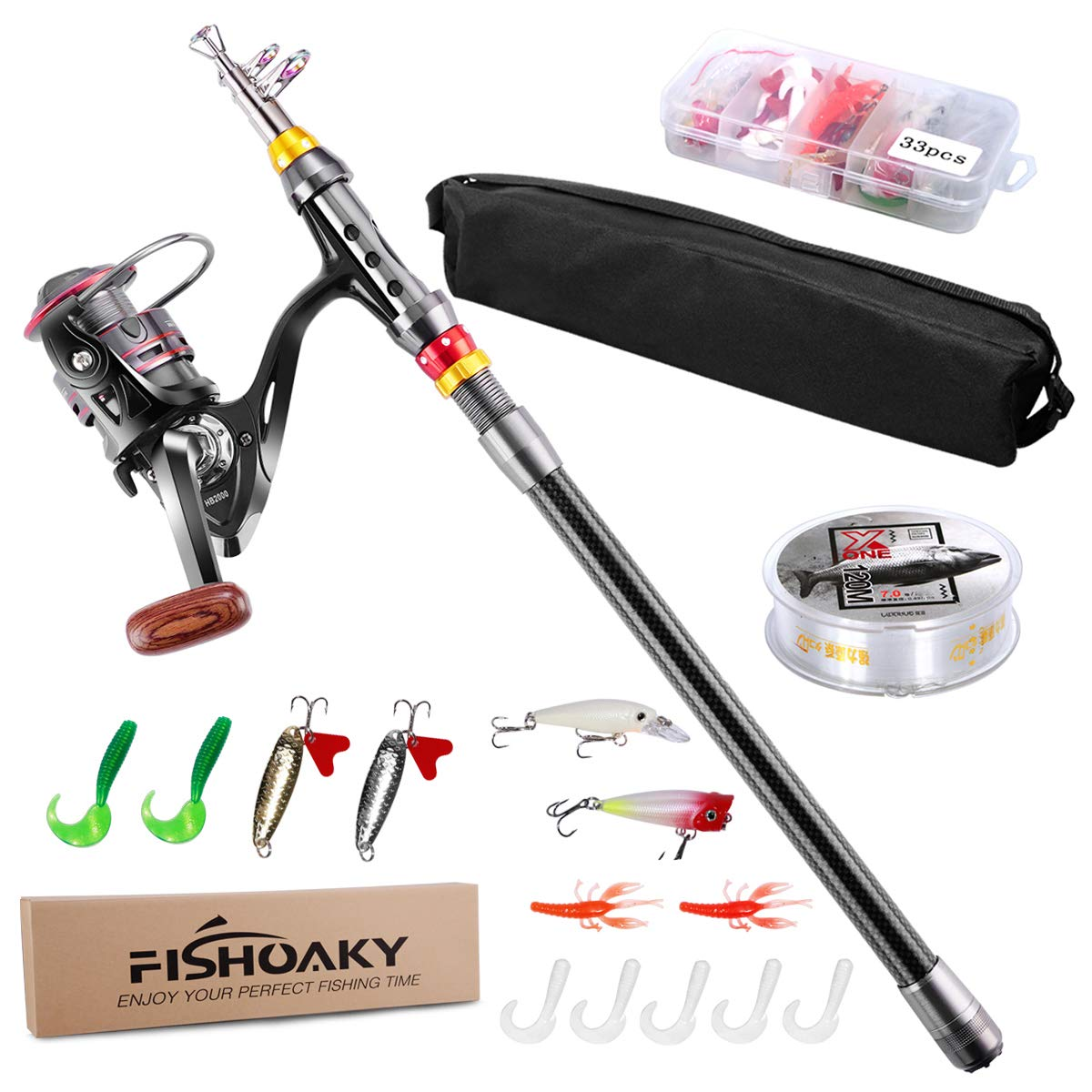 Telescopic Fishing Rod Set,FishOaky Spinning Fishing Gear Organizer Pole Sets with Full Kits Lure Case and Carry Bag  for Saltwater &Freshwater Kids&Adult by FishOaky