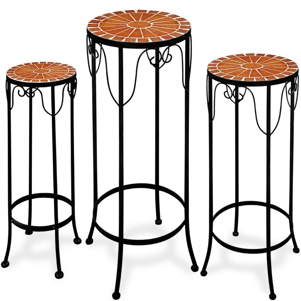 Deuba Plant stand mosaic garden table steel side table stackable set metal 3 garden tables