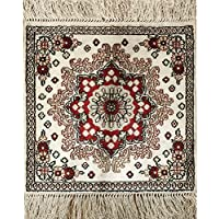 YILONG CARPET 1 x 1 400L Small Square Handmade Silk Carpet Qum Persian Turkish Rug Oriental Rug 1 Feet 1 Feet