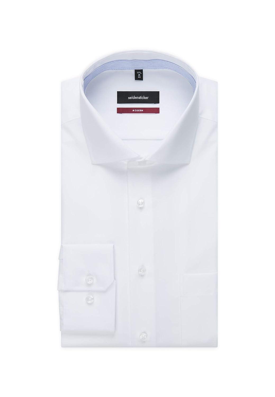 Kent-Kragen /& Brusttasche B/ügelfreies Hemd mit geradem Schnitt 100/% Baumwolle Langarm Seidensticker Herren Business Hemd Modern Fit