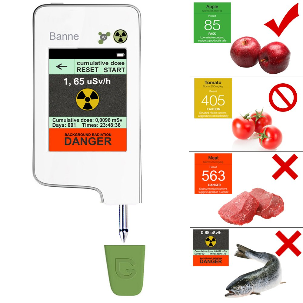 Food Radiation Detector,Banne Portable Touch-screen Nitrate Detector Radiation Tester Geiger Counter with Built-in Magnet for Fruits,Vegetables,Seafood(Version 3)