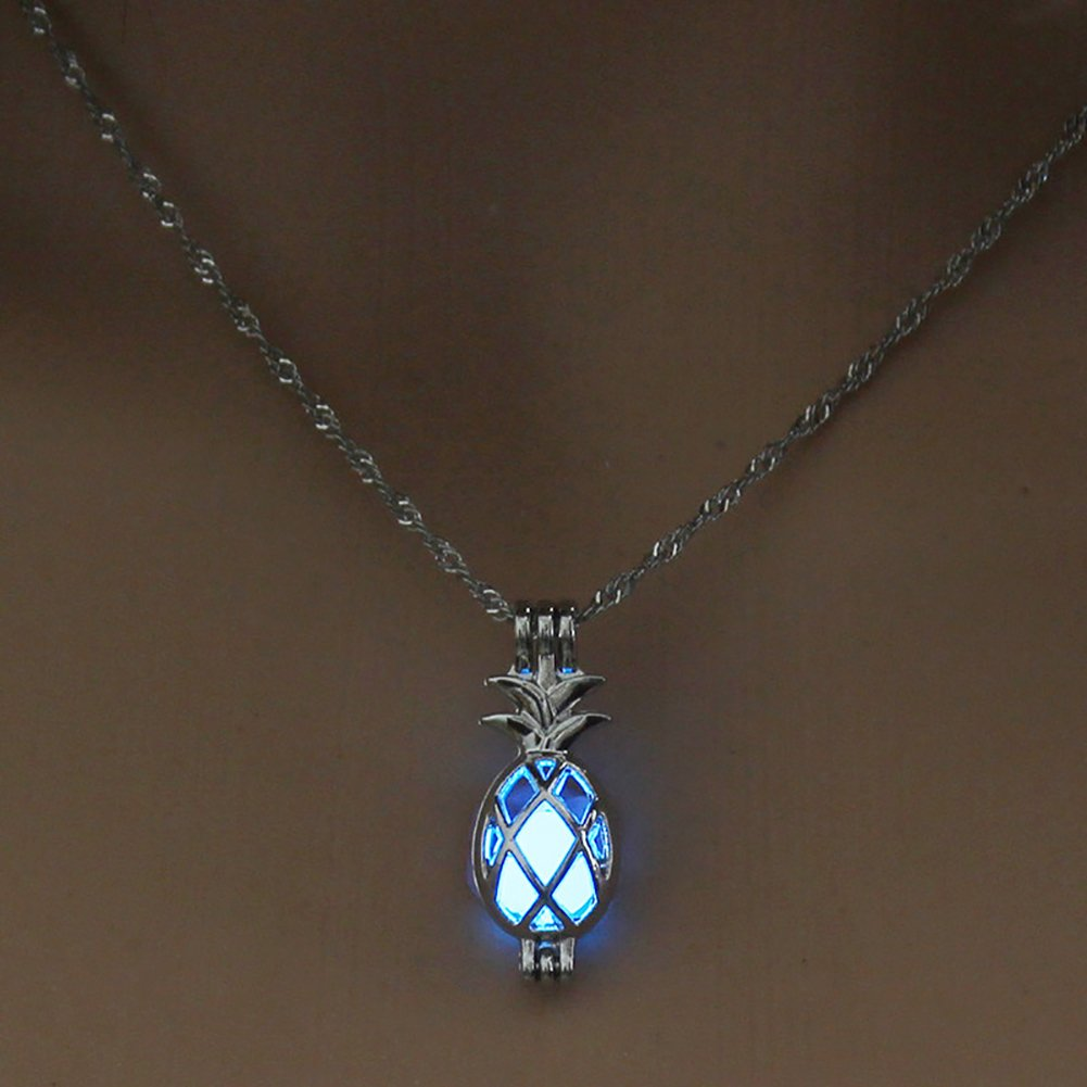 Necklace Opeof Hollow Pineapple Luminous Pendant Cage Chain Necklace Party Women Jewelry Gift Blue Green
