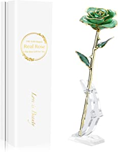 MAXSPT Gold Real Rose, Gold Dipped Real Rose is Attractive Luster and Natural Shape, Best Gifts for Mom,Her,Wife,Girlfriend,Green Rose with Stand