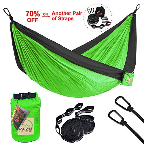 Double Camping Hammock, LATTCURE Lightweight Portable Hammock Parachute Nylon Fabric & 600LB High Capacity with 2 Adjustable Hanging Straps for Camping Backpacking Travel Beach Yard(Green+Black)