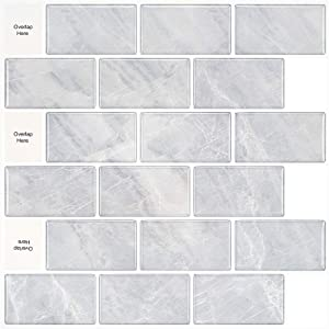 MORCART Peel and Stick Backsplash Decorative Tile for Kitchen 12x12 inches Wall Decor Tiles Wallpaper (Gray with White Grout, 10)