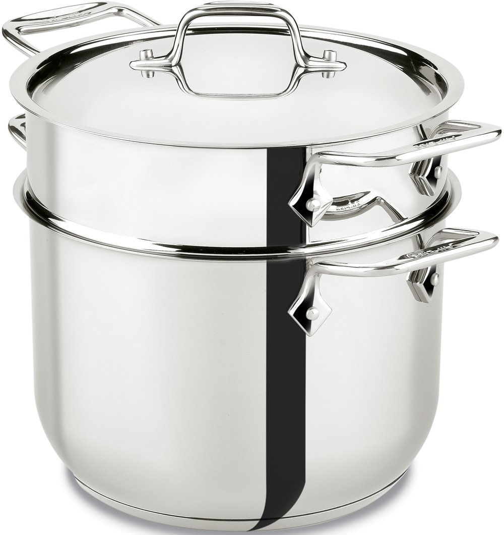 All-Clad E414S6 Stainless Steel Pasta Pot and Insert Cookware, 6-Quart, Silver by All-Clad