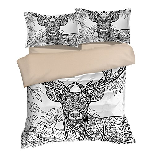 Luxury Floral Vintage Deer Cotton Microfiber 3pc 90''x90'' Bedding Quilt Duvet Cover Sets 2 Pillow Cases Queen Size by DIY Duvetcover
