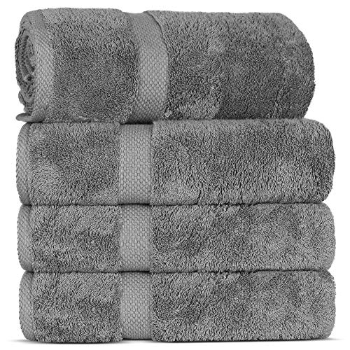 TURKUOISE TURKISH TOWEL Premium Quality 100% Turkish Cotton Bath Towel with Double Border (Honeycomb Pattern-Gray, Bath Towel-Set of 4)