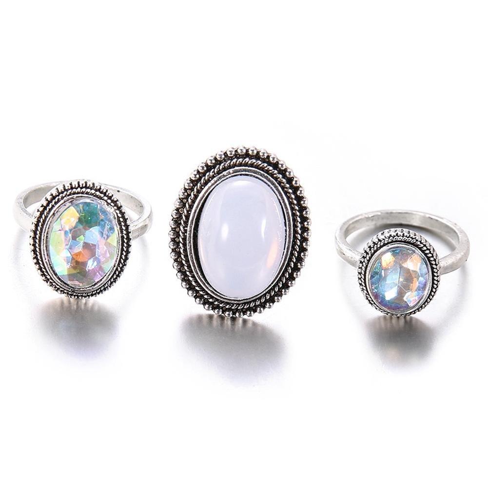ZHUOTOP Juego de 3 anillos de aleació n para mujer, diseñ o de gemas de imitació n diseño de gemas de imitación
