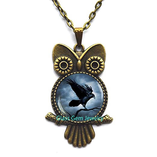 Raven Locket Pendant Raven Locket Necklace Black Bird Locket Necklace,Q0055 Crow Locket Necklace Bird Jewelry Steampunk gothic Locket Necklace