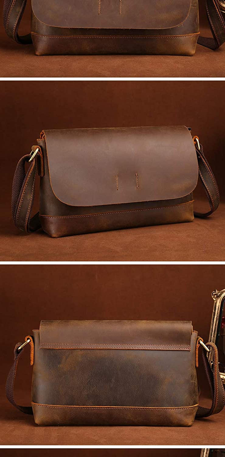 Mens 11inch Briefcase Vintage Genuine Leather Messenger Bag for Men Business