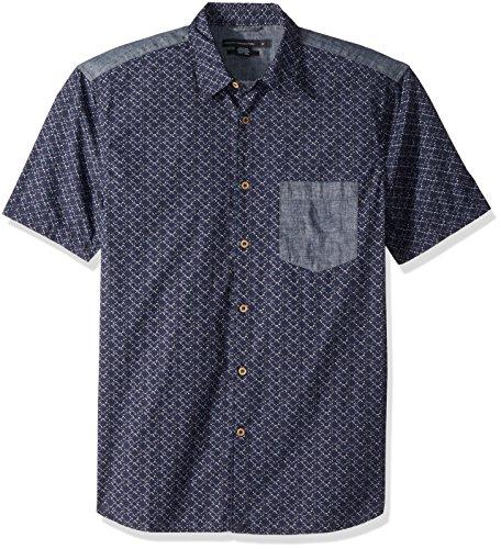 (French Connection Men's Short Sleeve Printed Regular Fit Button Down Shirt, deep Cobalt,)