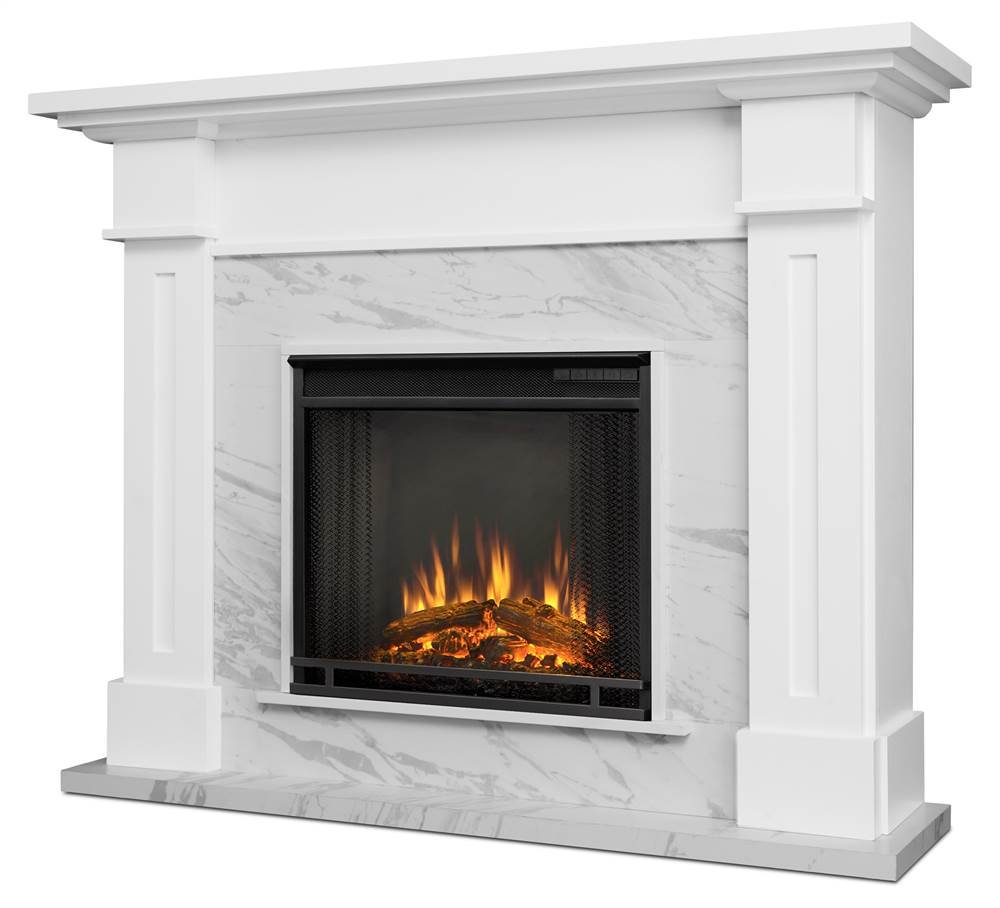 Real Flame 6030E-WM Kipling Electric Fireplace in White Marble