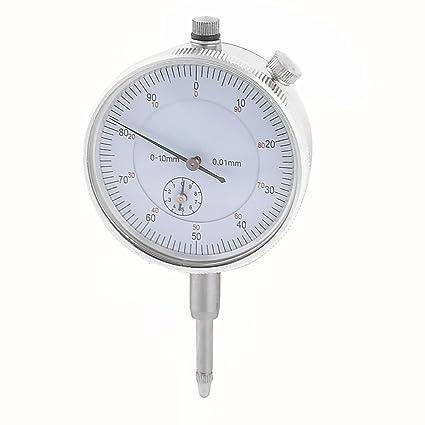 Reloj comparador de lectura 0-90-0 precisión 0,01 mm tono plateado