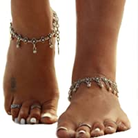 Simsly retro bracciale cavigliera piede catena con perline in lega nappa vintage di gioielli per donne e ragazze (argento/2pezzi)