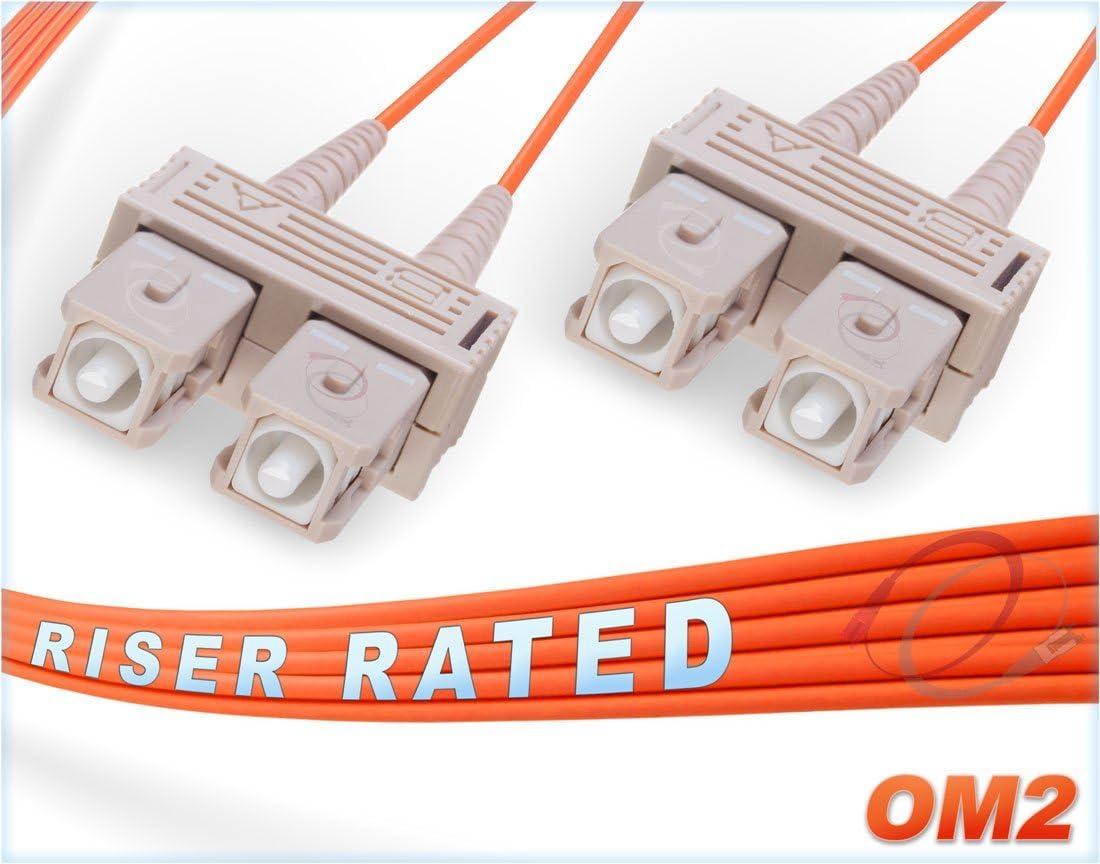 Alt: sc-sc mmf patchcord sc//sc- Corning Patch-Cord ofnr FiberCablesDirect 30M OM2 SC SC Fiber Patch Cable 98.42ft | Length Options: 0.5M-300M Duplex 50//125 SC to SC Multimode Jumper 30 Meter