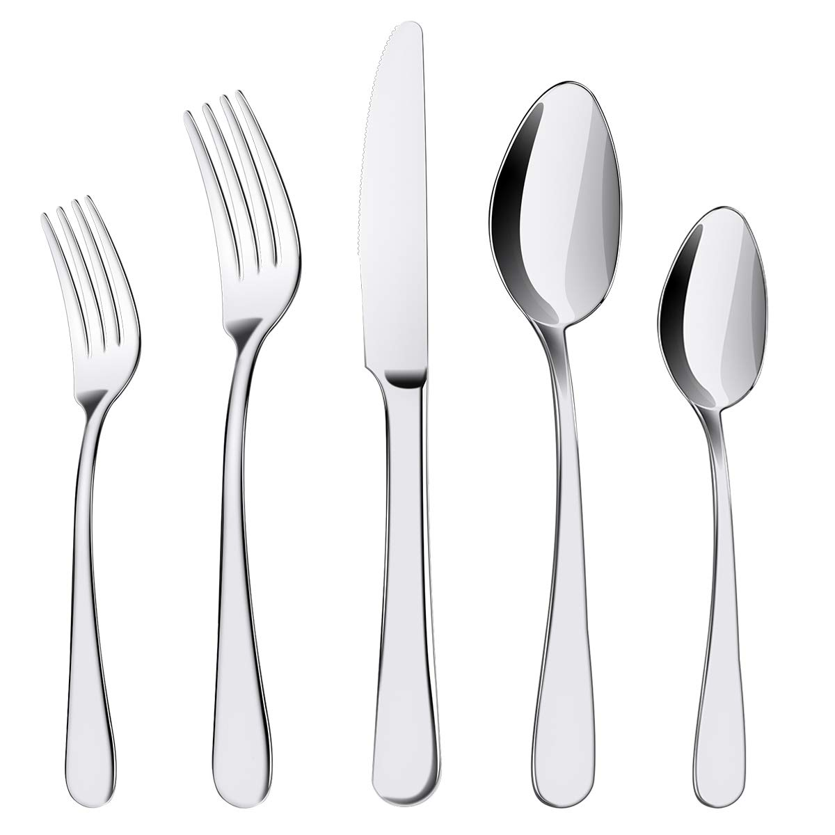 ENLOY 20 Pieces Flatware Set, 18/0 Stainless Steel Utensils, Service for 4, Heavy Duty Silverware Gift, Heavyweight Cutlery, Dishwasher Safe, Mirror Polished Dinner Knife, Fork, Spoon for Restaurant