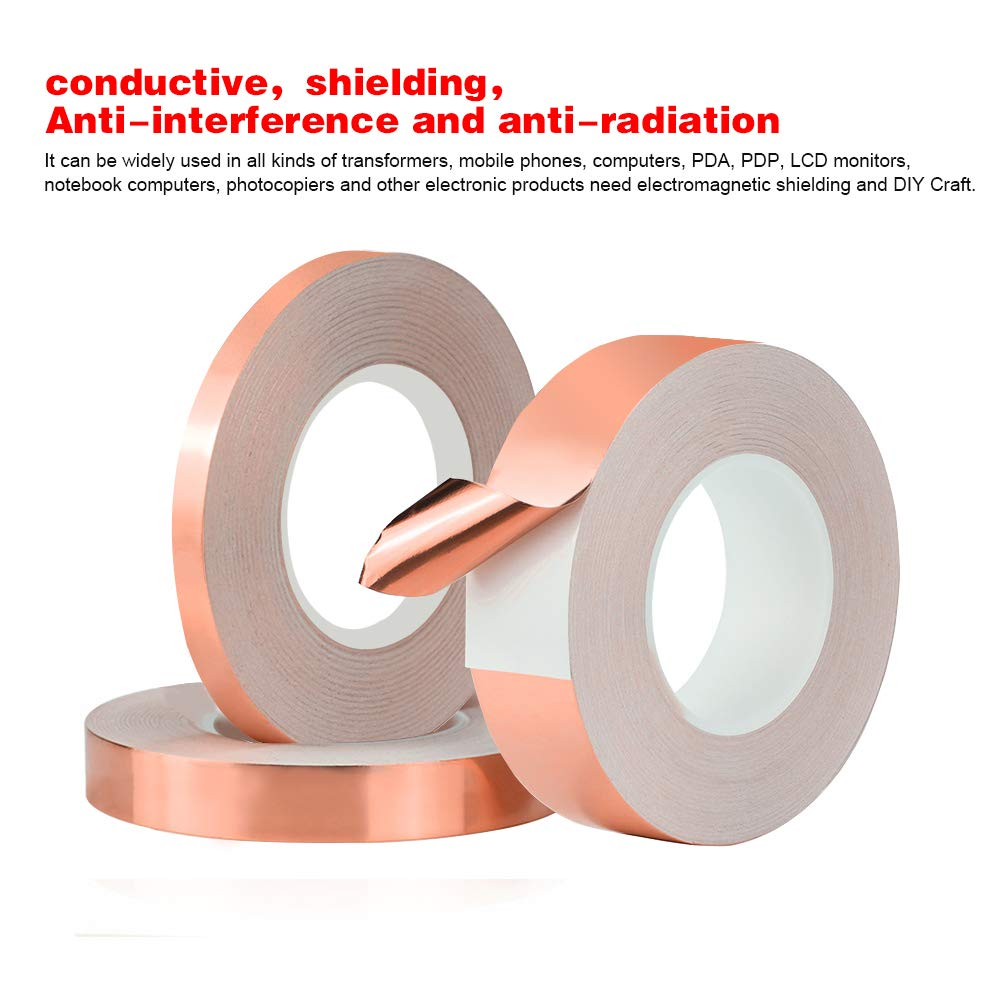 3 Pack Copper Foil Tape,Single-Sided Conductive Copper Tape for EMI  Shielding, Stained Glass, Art Work, Soldering, Electrical Repairs,  Grounding(6 mm,