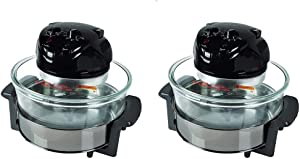 NutriChef PKCOV45 Kitchen Countertop Electric Air Fryer Convection Oven Cooker w/ 18 Quart Cooking Bowl, Tongs, and Racks for Oil Free Healthier Food (2 Pack)