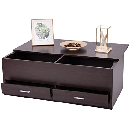 Slide Top Coffee Table W/Hidden Compartment 2 Drawers Living Room Furniture