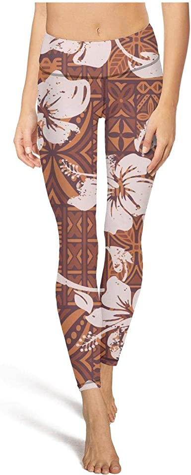 Womens Workout Running Legging White Hibiscus Tropical Hawaiian Floral Tummy Control Yoga Pants Sports
