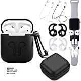 TAOSANHU AirPods Case 9 in 1 Airpods Accessories Kits Protective Silicone Cover and Skin Compatible Apple Airpods Charging Case with Airpods Ear Hook/Tips/Airpods Strap/Clips/Watch Band Holder airpods accessaries black Black