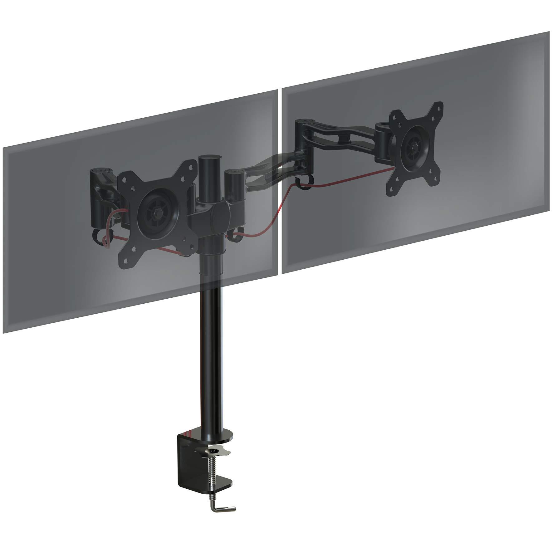 Duronic DM352   BK Soporte Doble para 2 Monitores Soporte para Dos  Pantallas con Brazo con Giro ± 15º   Giro de 180º   Rotación de 360º    Color Negro  ... 79cf1083c75