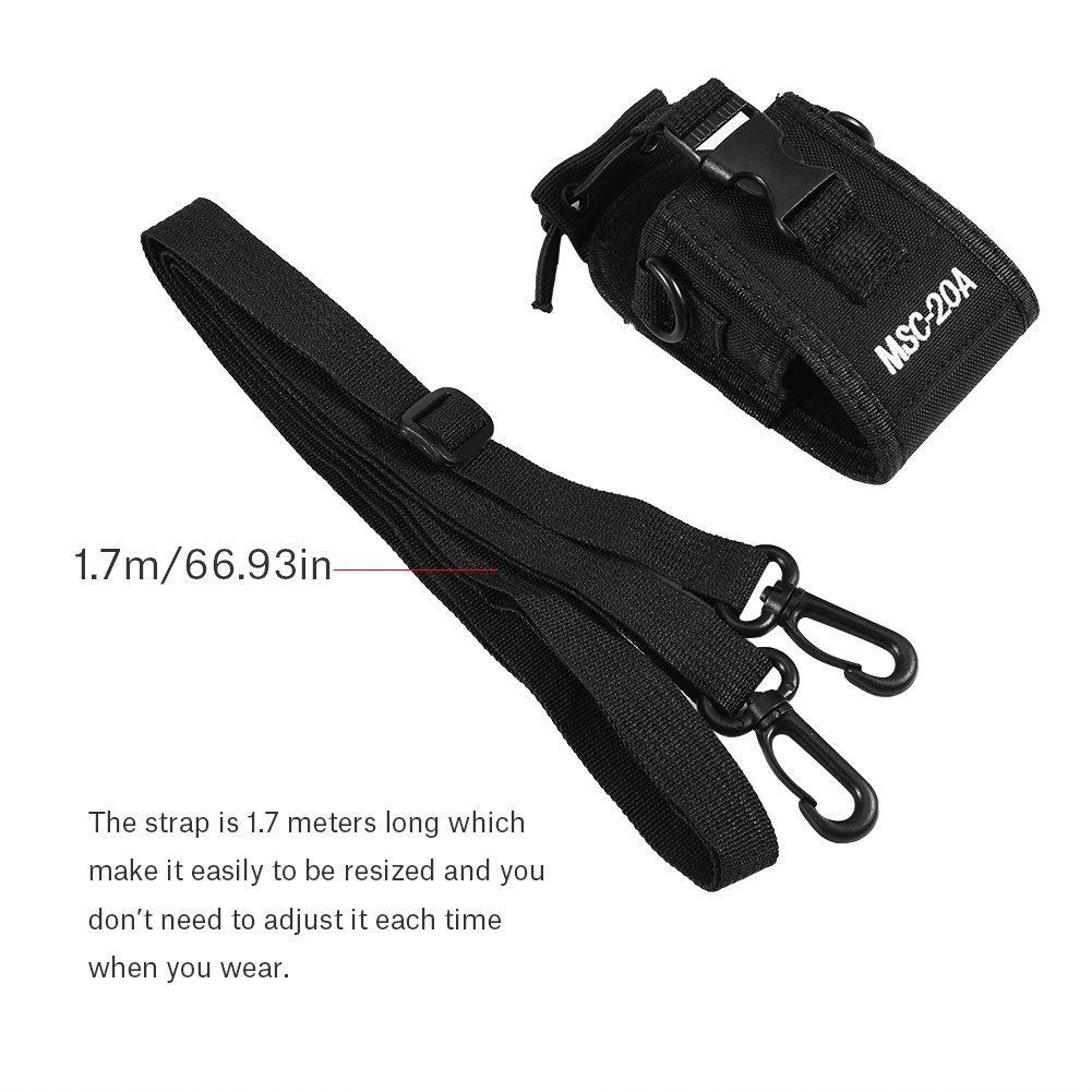 Zerone Universal Walkie Talkie Nylon Belt Case Bag with Adjustable Shoulder Strap Two Way Radio Holder Holster Case MSC-20A For Kenwood/Motorola/HYT Two-Way Radio by Zerone (Image #3)