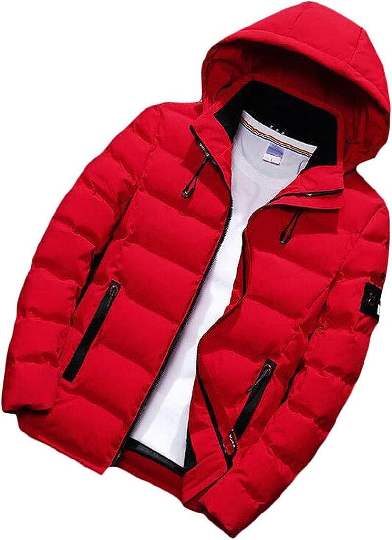 YULEgowinner Mens Quilted Slim Fit Cotton-Padded Hooded Jacket Parkas Coat
