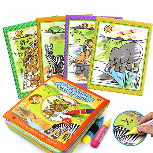 Tango Magic Water Drawing animal Cloth Book Coloring BookTravel Doodle Mat Children's Drawing Toys Mat Magic Pen Development Toys Doodle with Magic water Pen Painting Board for toddlers Baby